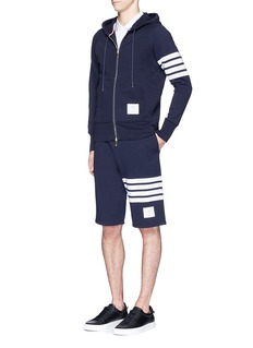 Thom BrowneStripe print cotton zip hoodie
