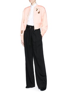 3.1 Phillip Lim Petal charm cropped satin bomber jacket
