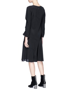 3.1 Phillip Lim Slit sleeve asymmetric ruched silk crepe dress