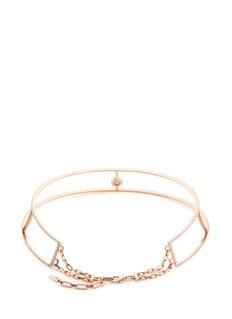 Messika 'Glam'Azone Skinny Pavé' diamond 18k rose gold necklace