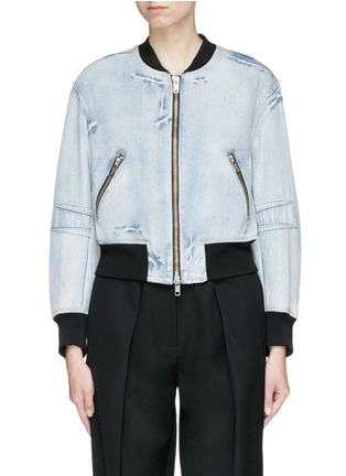 Main View - Click To Enlarge - 3.1 Phillip Lim - Zip sleeve cropped denim bomber jacket