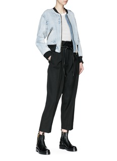 3.1 Phillip Lim Zip sleeve cropped denim bomber jacket