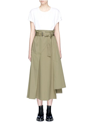 Main View - Click To Enlarge - 3.1 Phillip Lim - T-shirt panel belted paperbag waist midi dress