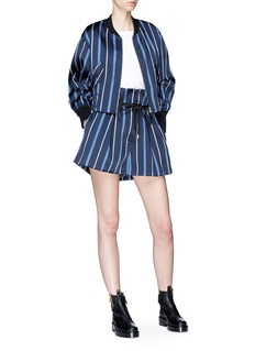 3.1 Phillip Lim 'Origami' drawstring waist stripe pleated twill paperbag shorts
