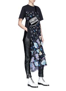3.1 Phillip Lim Floral print chiffon overlay T-shirt