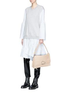 3.1 Phillip Lim Stripe poplin skirt French terry sweatshirt dress