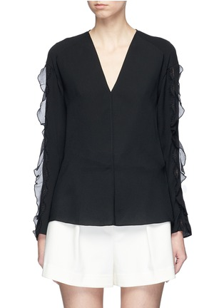 Main View - Click To Enlarge - 3.1 Phillip Lim - Crépon trim crepe blouse