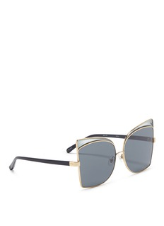 NO.21 Acetate temple metal geometric cat eye sunglasses