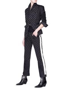 Haider Ackermann Contrast sleeve felted polka dot print blazer