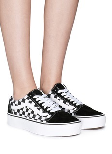 Vans 'Old Skool' checkerboard canvas flatform unisex sneakers