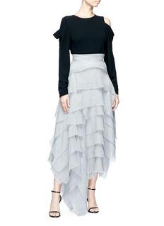 Maticevski 'Winning' asymmetric tiered ruffle mesh skirt