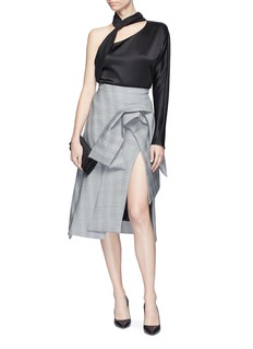 Maticevski 'Excellence' ruched panel check plaid skirt