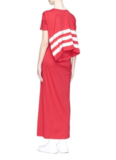 Y-3 三重条纹解构拼接纯棉连衣裙