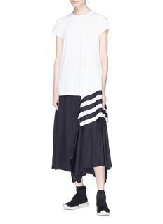 Y-3 3-Stripes asymmetric drape T-shirt