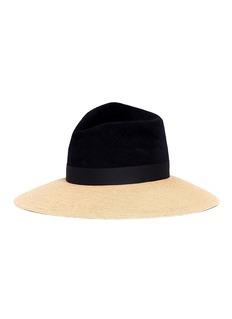 Gigi Burris Millinery 'Drake' colourblock straw brim felt fedora hat