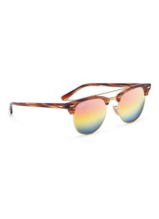 Ray-Ban 'Clubmaster' metal rim acetate square mirror sunglasses