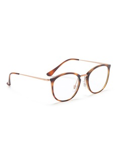 Ray-Ban 'RB7140' metal temple tortoiseshell acetate round optical glasses
