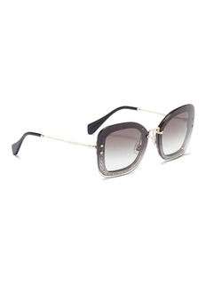 miu miu Metal temple mounted lens glitter acetate square sunglasses