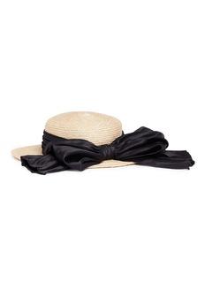 Eugenia Kim 'Brigitte' satin bow boater straw hat