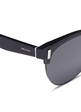 Detail View - Click To Enlarge - Prada - Acetate brow bar round sunglasses