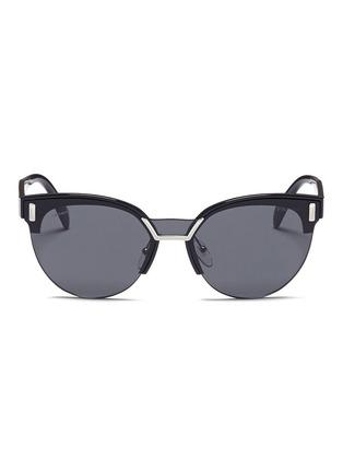 Main View - Click To Enlarge - Prada - Acetate brow bar round sunglasses