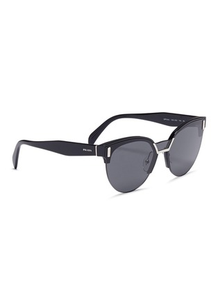 Figure View - Click To Enlarge - Prada - Acetate brow bar round sunglasses