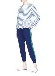 Ports 1961 Stripe outseam wool knit cropped sweatpants