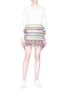 Ports 1961 Fringe stripe mix knit mini skirt