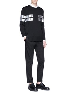 Neil Barrett Metallic stripe print sweater