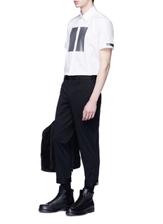 Neil Barrett Reflective square print short sleeve shirt