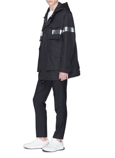 Neil Barrett Metallic stripe hooded parka
