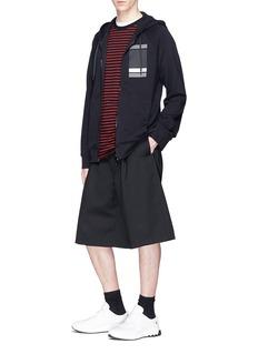 Neil Barrett Square stripe print zip hoodie