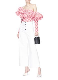 Johanna Ortiz 'Mangas Coloradas' tartan tiered ruffle one-shoulder top