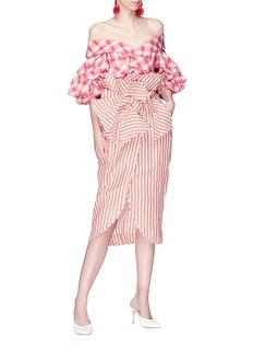 Johanna Ortiz 'Mil Rayas' pinstripe ruffle drape wrap skirt