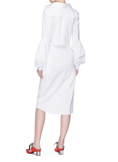 Johanna Ortiz 'Coyotero' bishop sleeve knot cutout front shirt dress