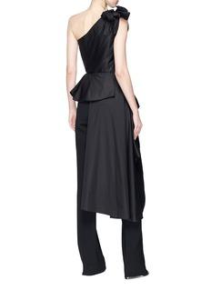 Johanna Ortiz 'Agave' one-shoulder peplum drape poplin top