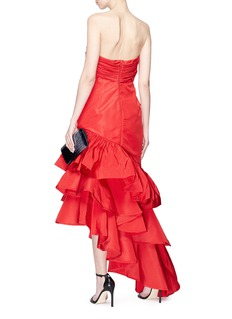 Johanna Ortiz 'Spicy Margarita' cutout twist bandeau tiered peplum gown
