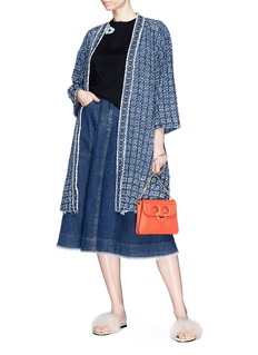Sonia Rykiel Laser engraved logo denim open coat