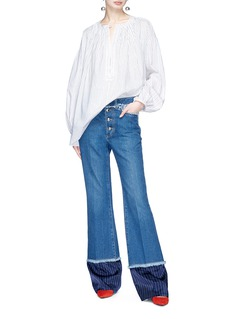Sonia Rykiel Stripe cuff flared jeans