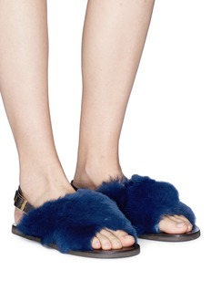 Fabio Rusconi Rabbit fur slingback sandals