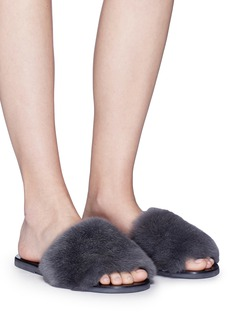 Fabio Rusconi Rabbit fur slide sandals
