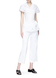 Aalto Asymmetric collar corset poplin shirt