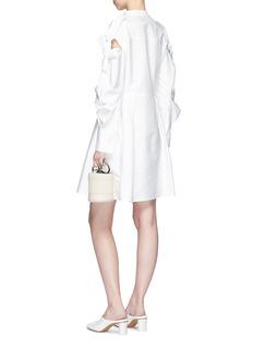 ADEAM Tie cutout ruched sleeve shirt dress
