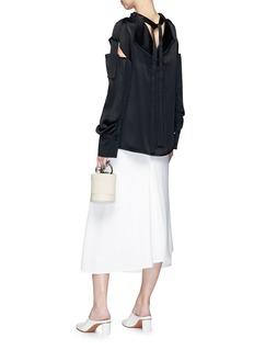 ADEAM Tie back cut-out shoulder sateen blouse