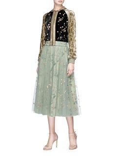Sabyasachi Embellished velvet cropped bomber jacket