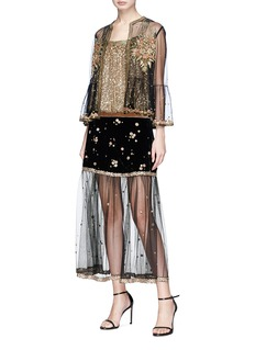 Sabyasachi Sash tulle back sequin sleeveless top