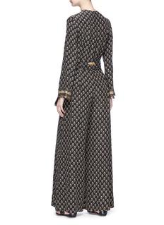 Sabyasachi Embellished cuff floral print belted silk georgette jumpsuit
