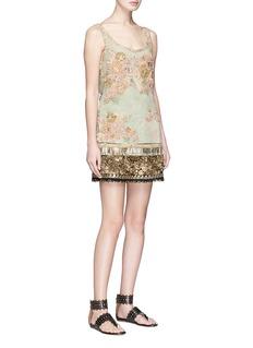 Sabyasachi Floral embellished tulle overlay velvet skirt