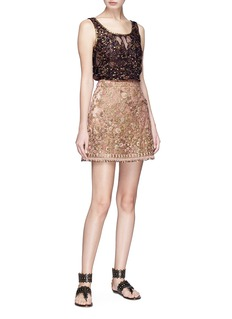 Sabyasachi Floral embellished tulle sleeveless top