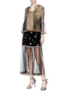Sabyasachi Floral embellished velvet and tulle midi skirt